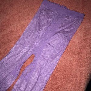 Purple Pantyhose Crotchless Very Shiny